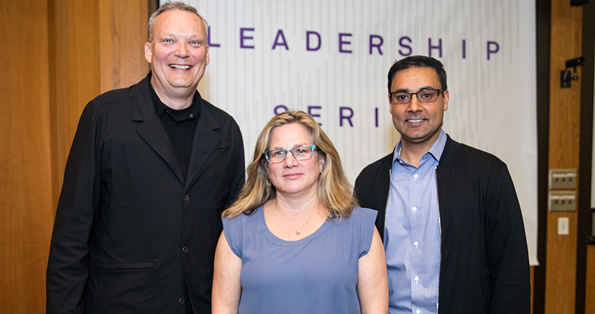 Segal's Greg Holderfield poses with Fjord's Martha Cotton and Baiju Shah. Credit: Justin Barbin